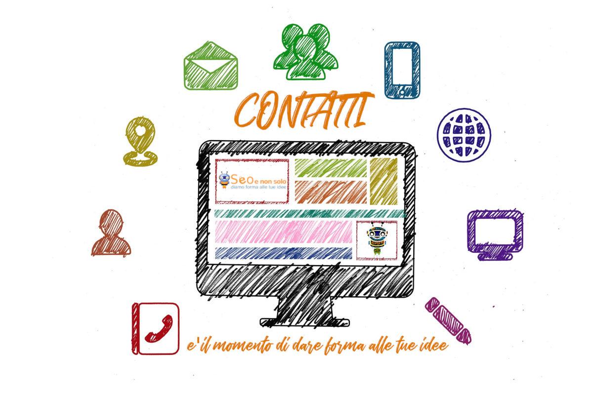 immagine con computer e icone varie disegnate a mano